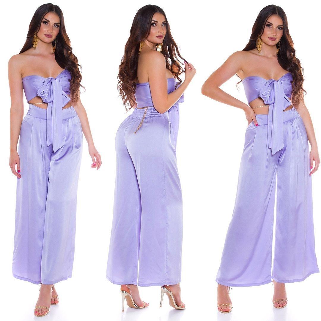 Conjunto pantalón y top bandeau lila