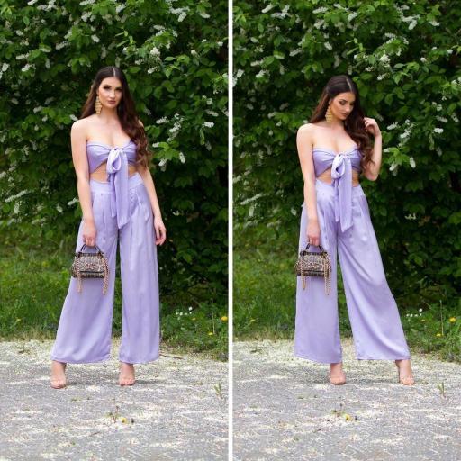 Conjunto pantalón y top bandeau lila [3]