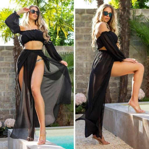Conjunto verano falda y top negro
