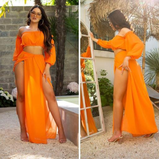 Conjunto verano falda y top naranja