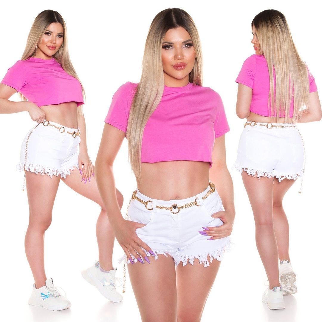 Top corto básico rosa