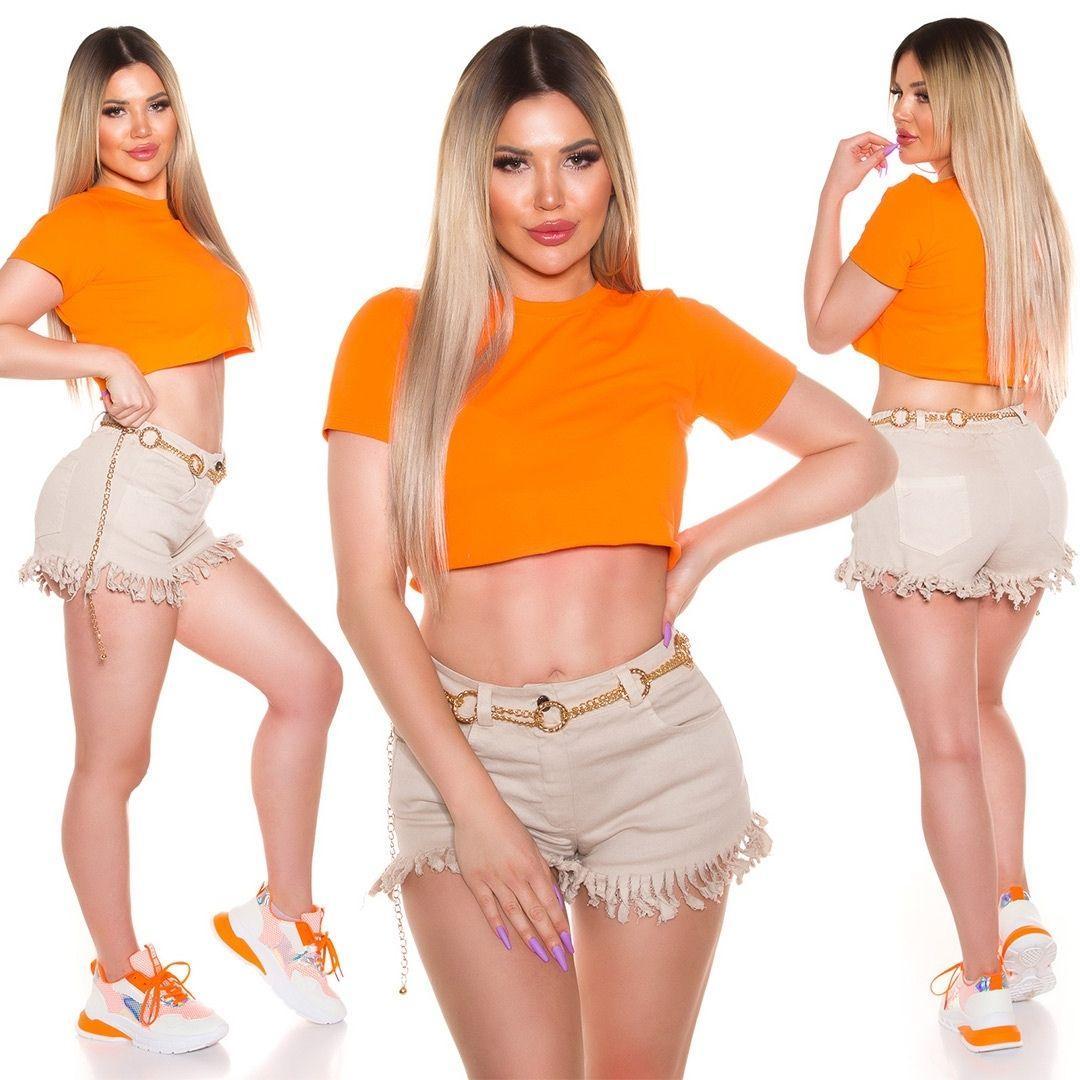 Top corto básico naranja