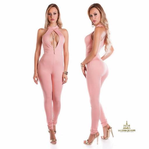 Mono ajustado rosa escote glamour [1]