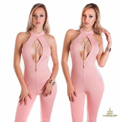 Mono ajustado rosa escote glamour [3]