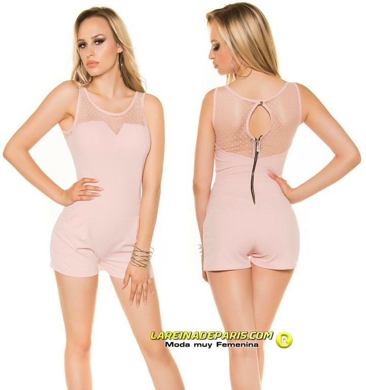 Mono corto entallado verano fashion rosa