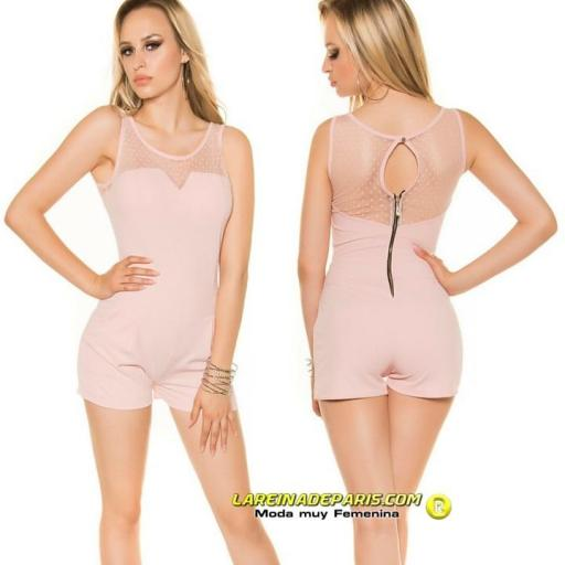 Mono corto entallado verano fashion rosa [0]