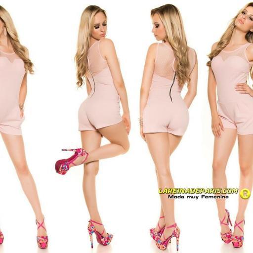 Mono corto entallado verano fashion rosa [1]