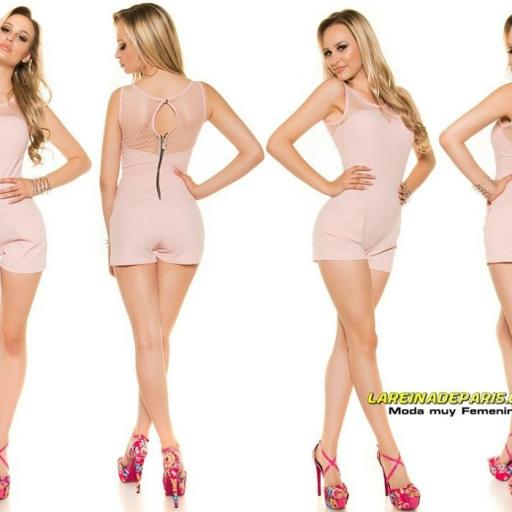 Mono corto entallado verano fashion rosa [2]