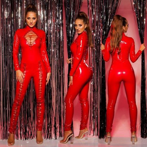 Sexy mono latex rojo