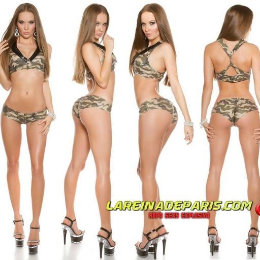 Outfit pole dance militar print