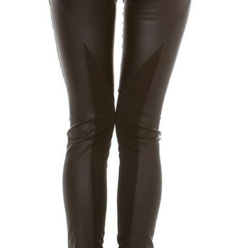 Pantalón de cuero y tela negro [1]