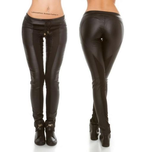 Pantalón de cuero y tela negro [2]
