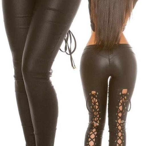 Pantalón ajustado cuero negro cordones [2]