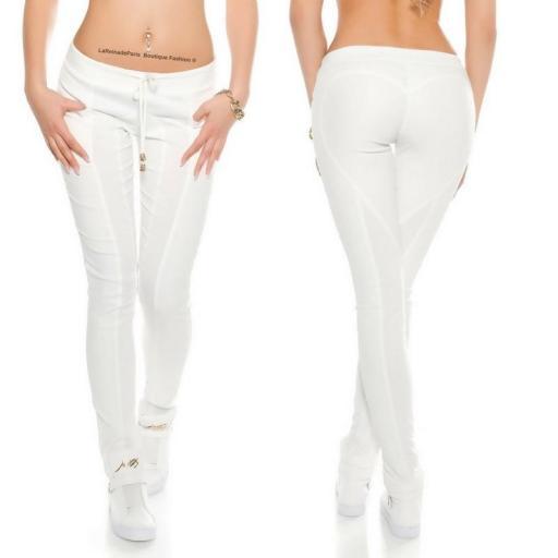 Pantalón de cuero y tela blanca [0]