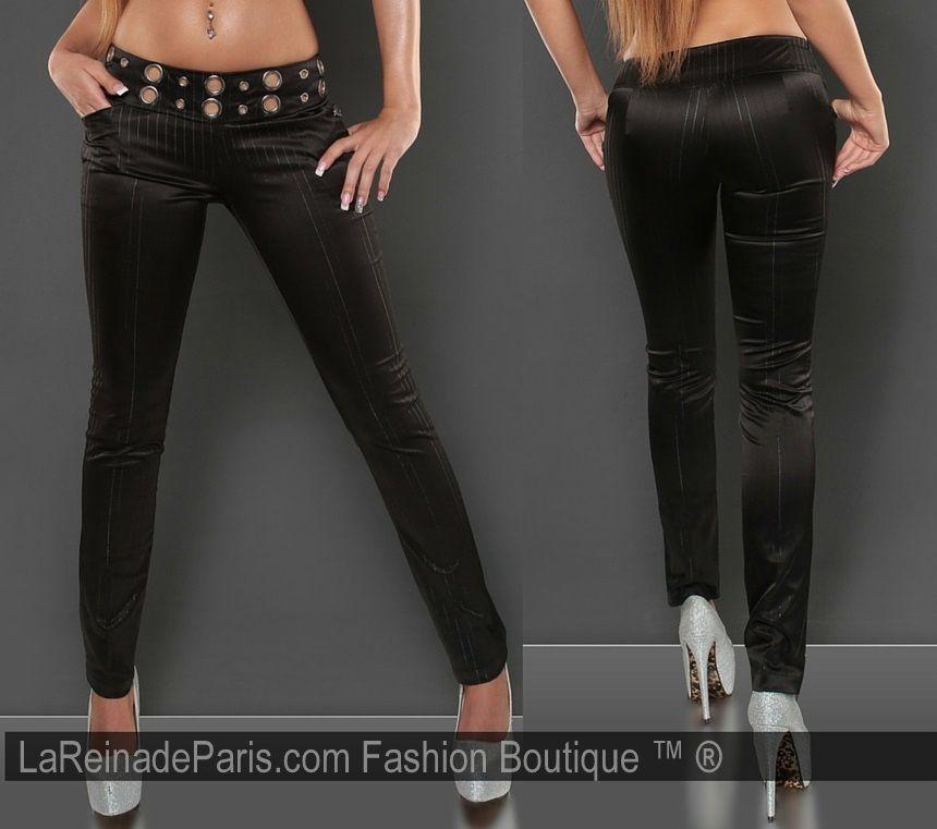 Pantalón ajustado con tela a rayas