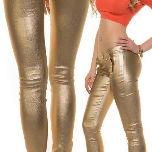 Pantalón ajustado dorado bright fashion [1]