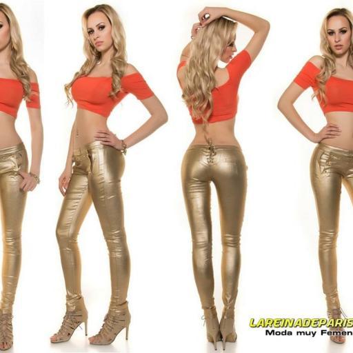 Pantalón ajustado dorado bright fashion [3]
