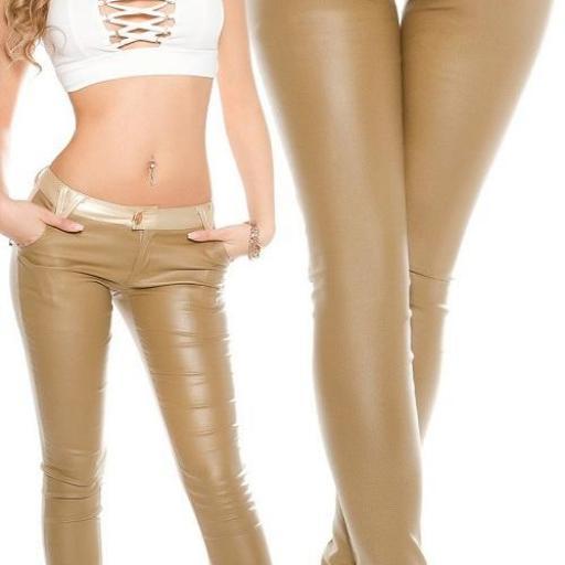Pantalón beige con pretina dorada [1]