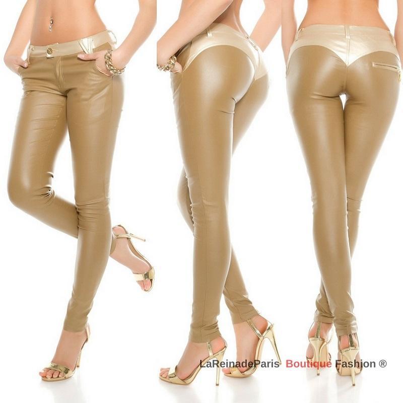 Pantalón beige con pretina dorada