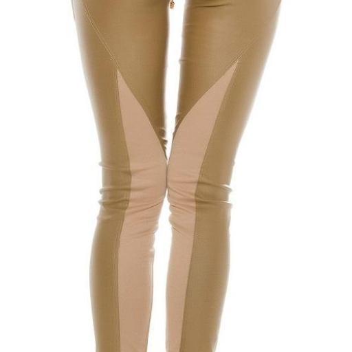 Pantalón de cuero y tela beige [1]