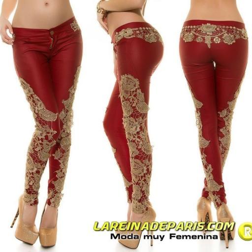 Pantalón ajustado cuero con encaje [3]
