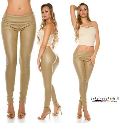 Pantalón skinny efecto cuero beige [1]