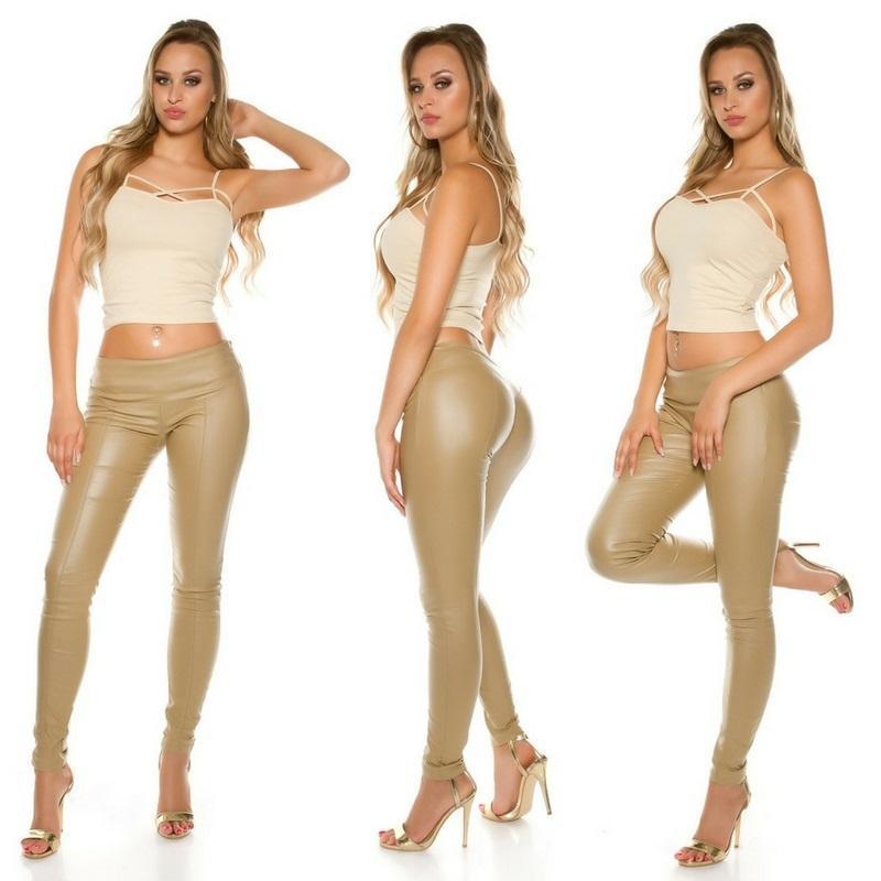 Pantalón skinny efecto cuero beige