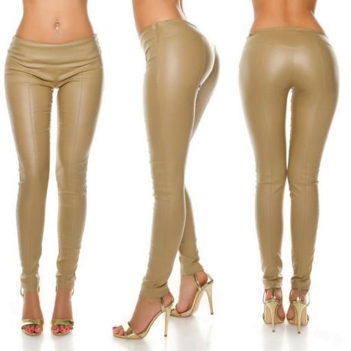 Pantalón skinny efecto cuero beige [3]
