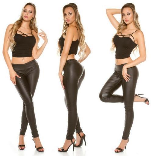 Pantalón skinny efecto cuero negro [2]