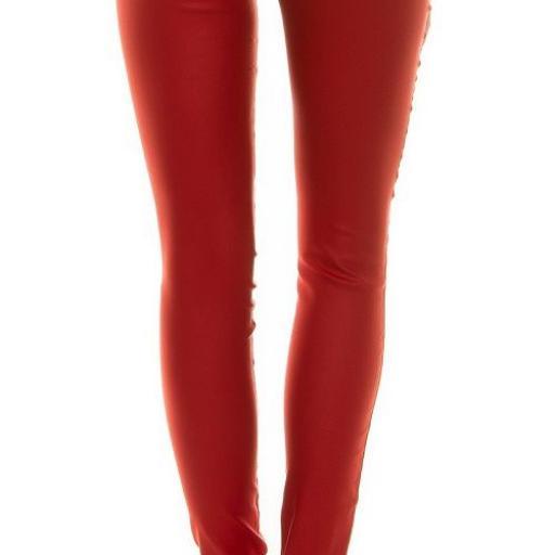 Pantalón de motera ajustado cuero rojo [2]