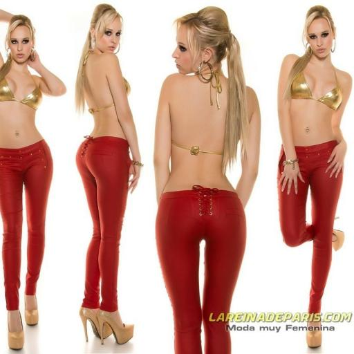 Pantalón de motera ajustado cuero rojo [0]