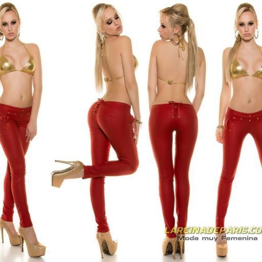 Pantalón de motera ajustado cuero rojo [3]