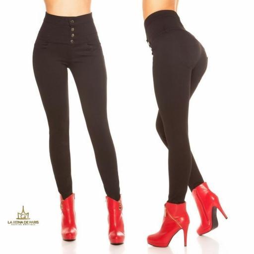 Pantalón negro ajustado de cintura alta [1]