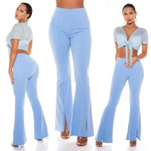 Pantalón ceñido de cintura alta azul