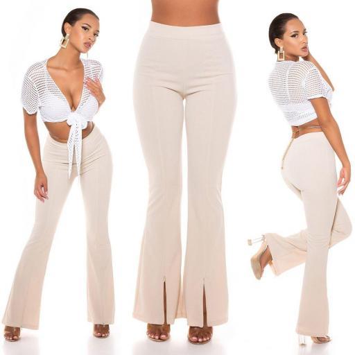 Pantalón ceñido de cintura alta beige