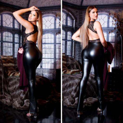 Pantalón sexy imitación cuero negro  [1]