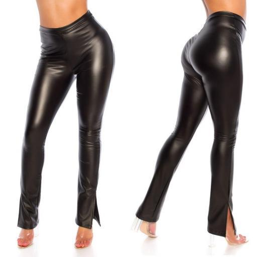 Pantalón sexy imitación cuero negro  [3]