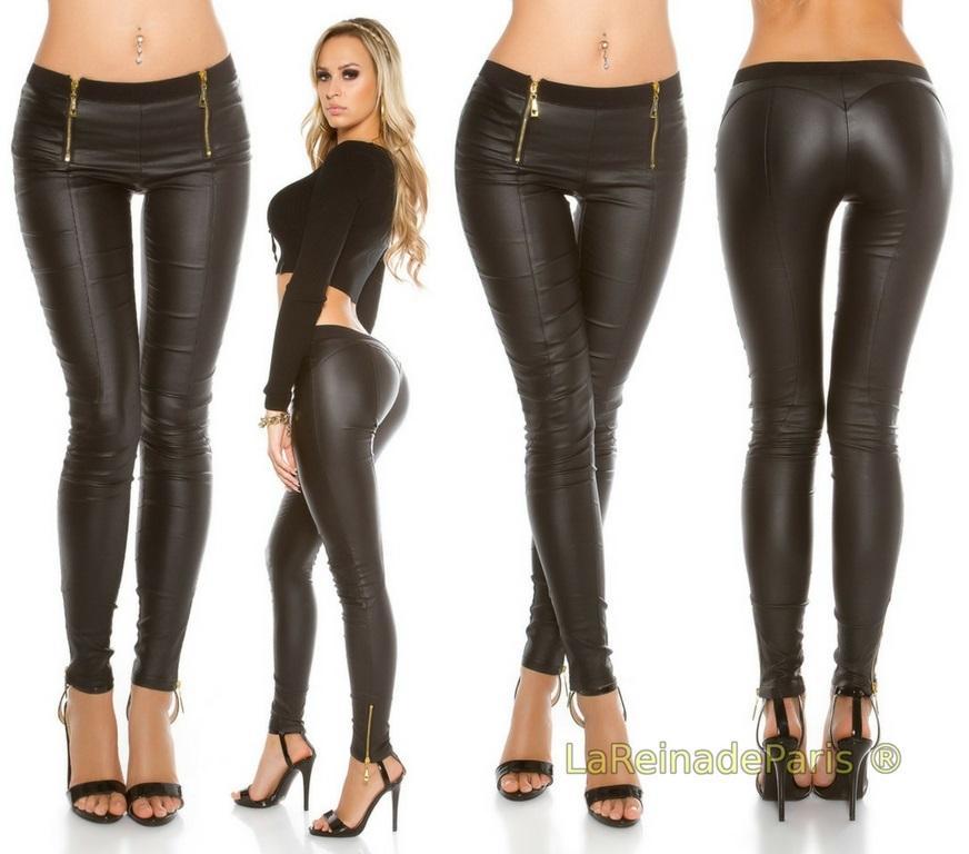 Pantalones de cuero con cremalleras