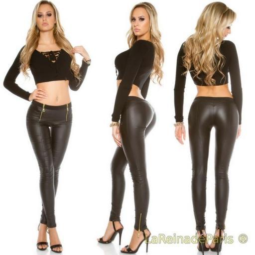 Pantalones de cuero con cremalleras [2]