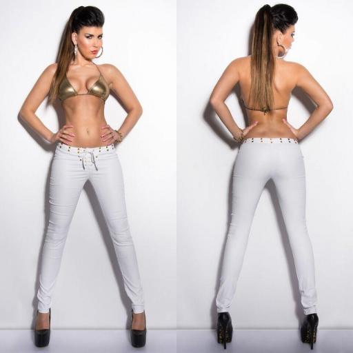 Pantalón cordones ajustado blanco  [2]