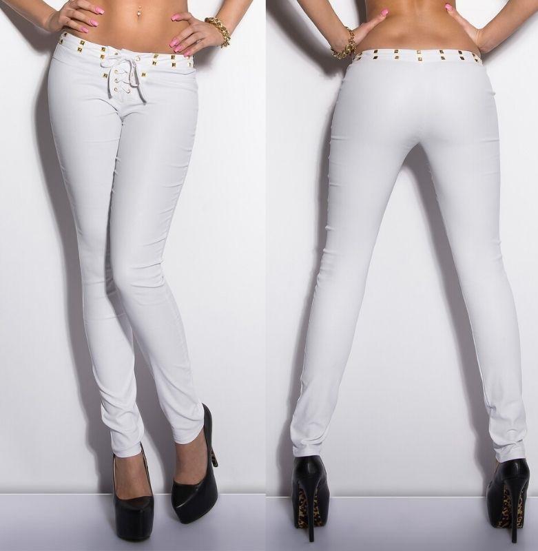 Pantalón cordones ajustado blanco