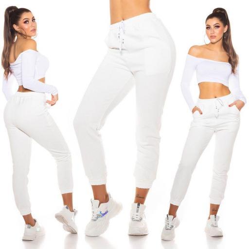Pantalón chándal mujer blanco