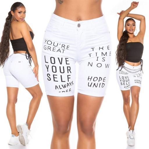 Pantalón corto blanco Love Your Self