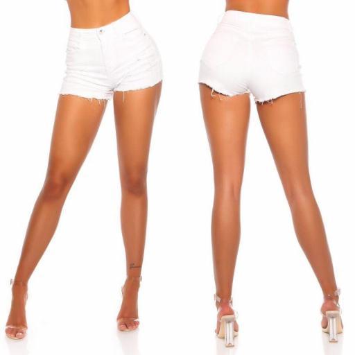 Pantalón corto blanco ajustado [1]