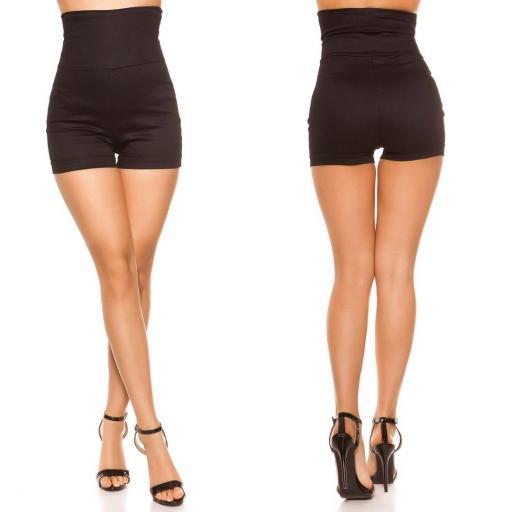 Pantalón corto cintura alta negro