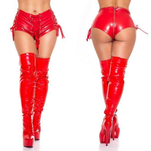 Pantalón corto piel sintética rojo [1]