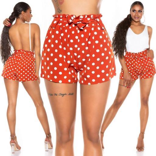 Pantalón corto de lunares naranja