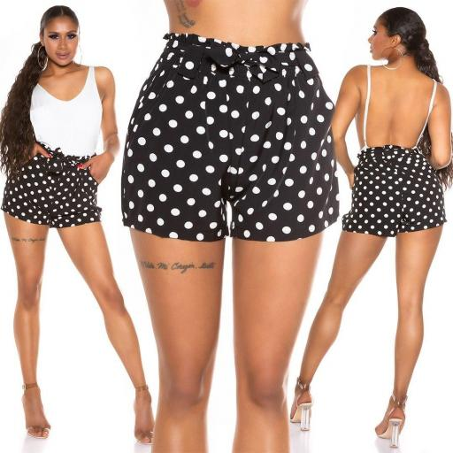 Pantalón corto de lunares negro