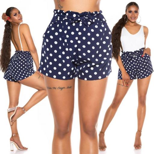 Pantalón corto de lunares azul