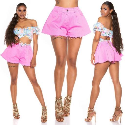 Pantalón corto de pierna ancha rosa